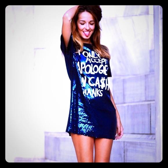 Zara Dresses & Skirts - COMING SOON Zara Blue Sequined Mini Shirt Dress